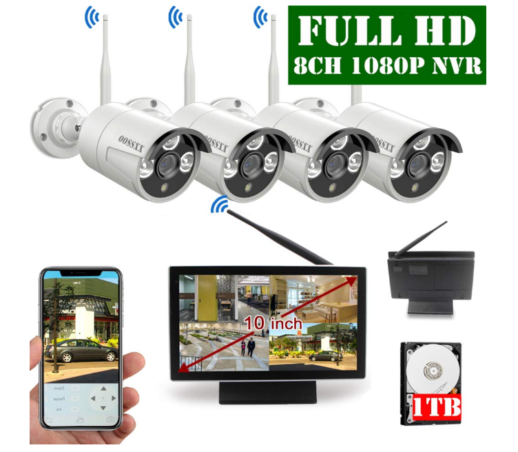 OOSSXX 10-Inch Screen HD Wireless Security Camera System